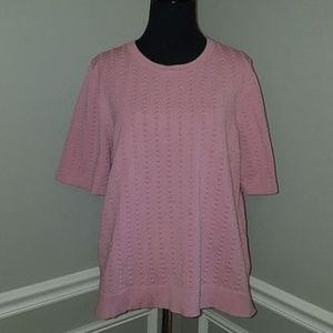 Premise Pink Texutred Short Sleeve Crew Sweater